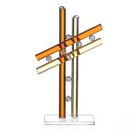 Croce Vetro Murano Ambra h. 12 cm s1