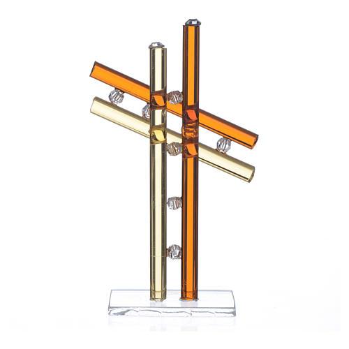 Croce Vetro Murano Ambra h. 12 cm 2