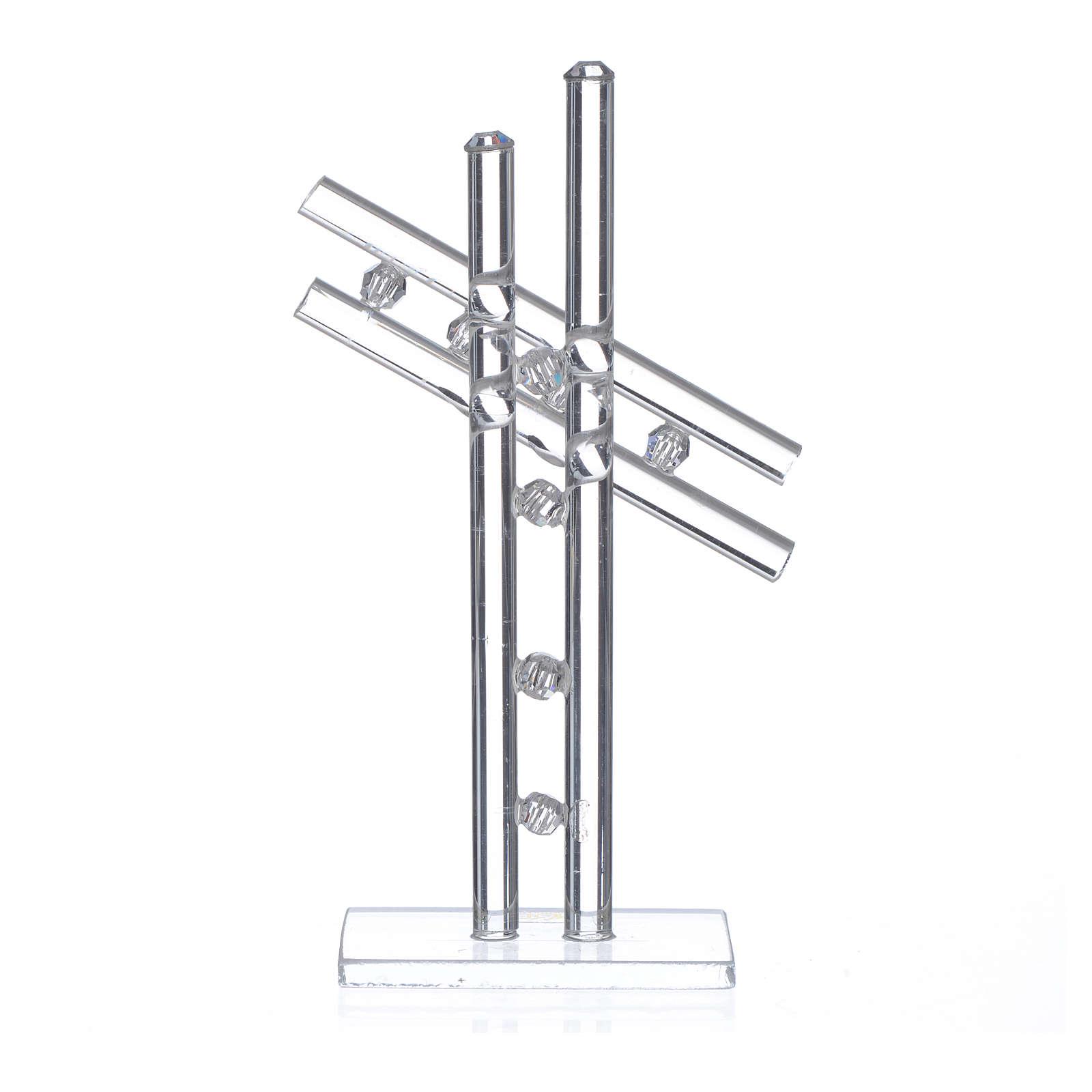Croix verre Murano blanc h 12 cm 3