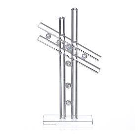 Croix verre Murano blanc h 12 cm s2