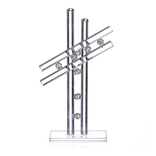 Croix verre Murano blanc h 12 cm 1