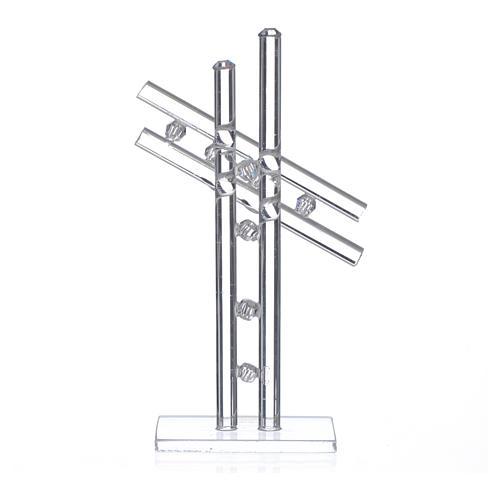 Croix verre Murano blanc h 12 cm 2