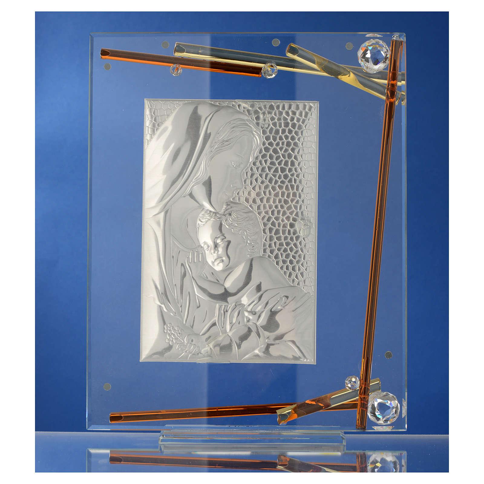 Bonbonnière Naissance Cadre Maternité cristal argent 25x20 cm 3