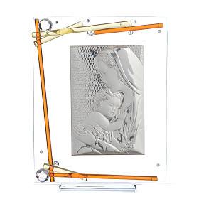 Bonbonnière Naissance Cadre Maternité cristal argent 25x20 cm s1
