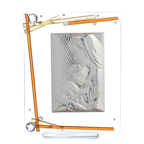 Bonbonnière Naissance Cadre Maternité cristal argent 25x20 cm 1