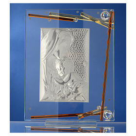 Bomboniera Nascita Quadro Maternità cristallo argento 25x20 cm s3