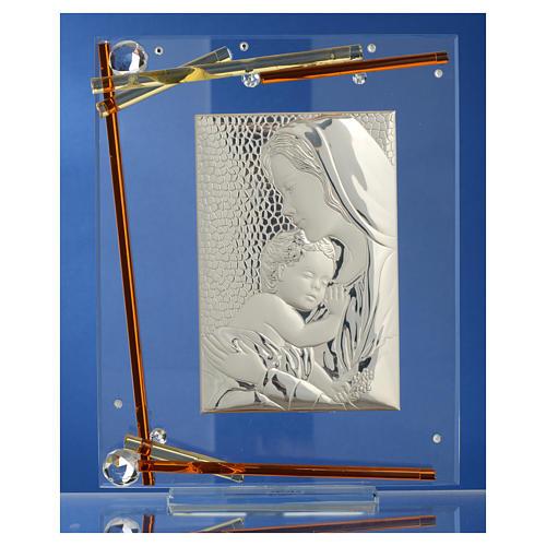 Bomboniera Nascita Quadro Maternità cristallo argento 25x20 cm 2