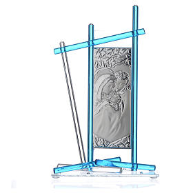 Icône Sainte Famille verre Murano aigue-marine 24x15 cm s3