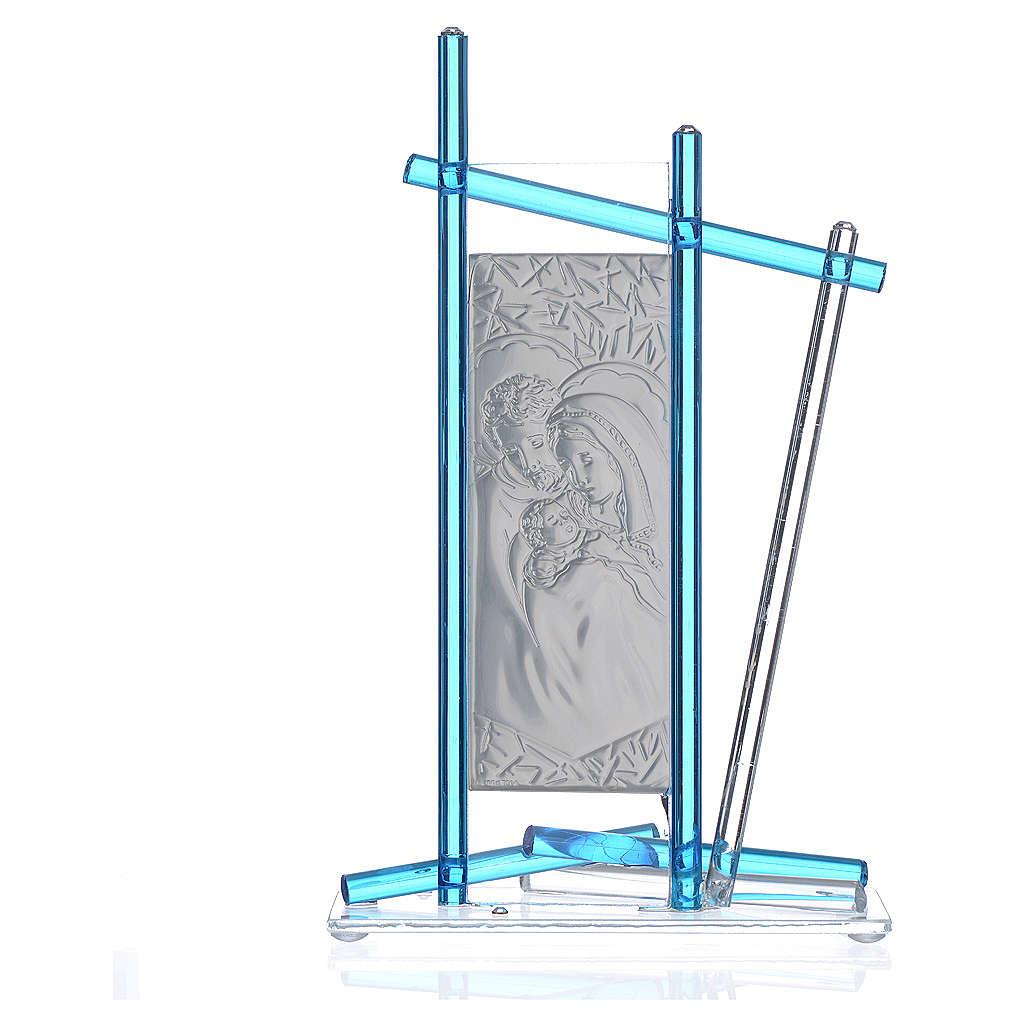 Icona Sacra Famiglia vetro Murano Acquamarina 24x15 cm 3