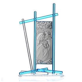 Icona Sacra Famiglia vetro Murano Acquamarina 24x15 cm s1