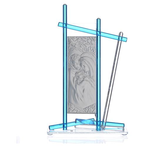 Icona Sacra Famiglia vetro Murano Acquamarina 24x15 cm 4