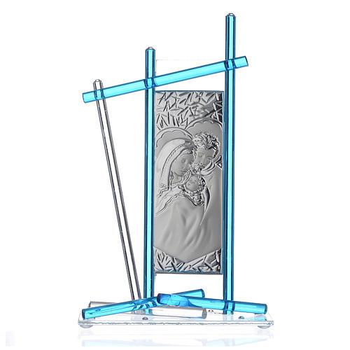 Icona Sacra Famiglia vetro Murano Acquamarina 24x15 cm 1