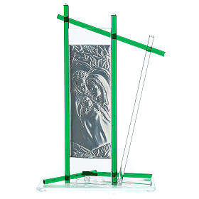 Icon Holy Family silver and Murano Glass, Green 24x15cm s3