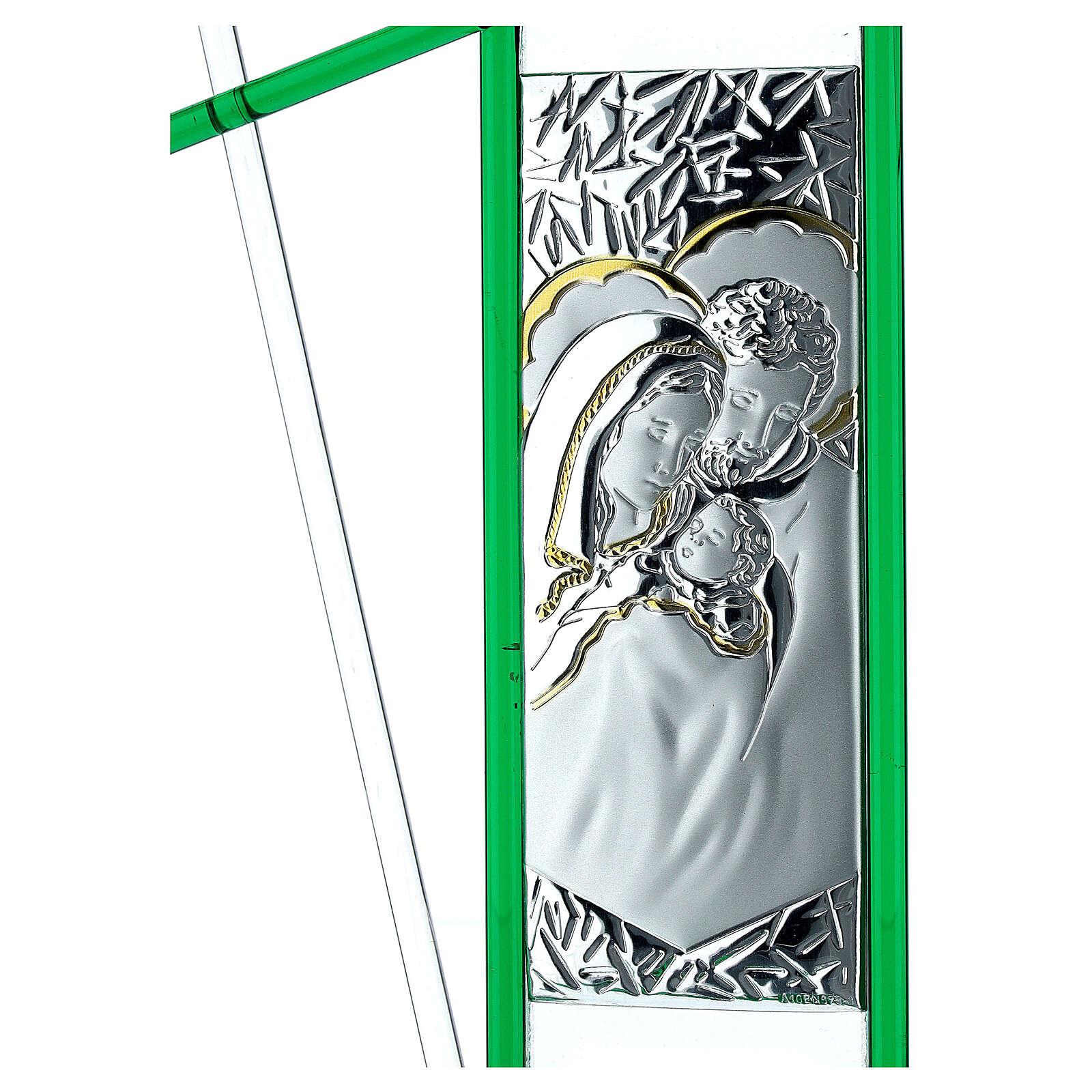 Icône Sainte Famille verre Murano vert 24x15 cm 3
