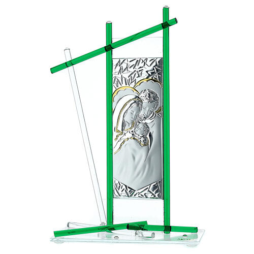 Icône Sainte Famille verre Murano vert 24x15 cm 1