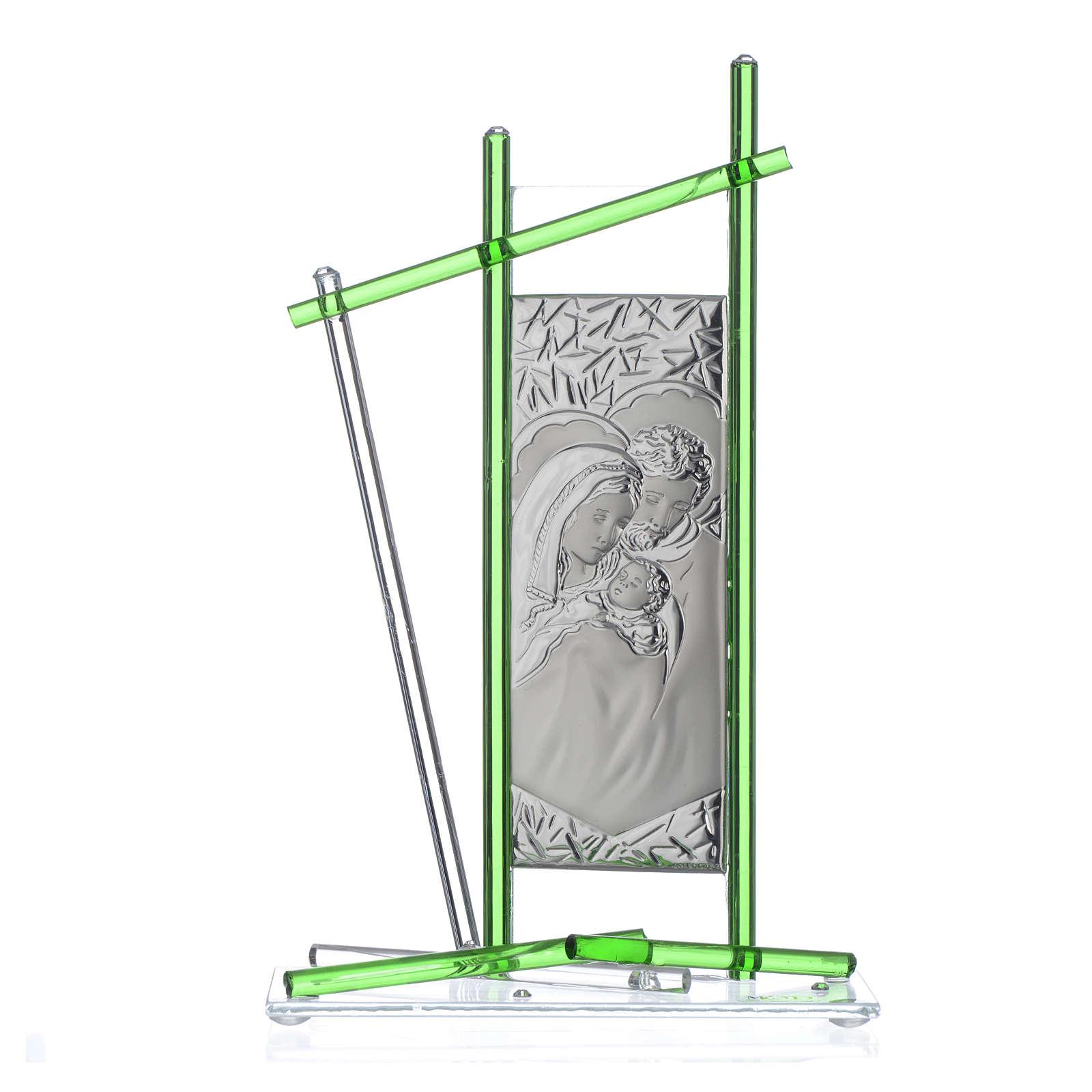 Icona Sacra Famiglia vetro Murano verde 24x15 cm 3