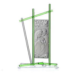 Icona Sacra Famiglia vetro Murano verde 24x15 cm s1