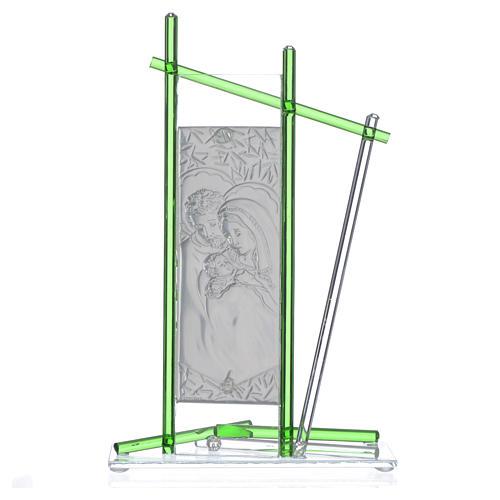 Icona Sacra Famiglia vetro Murano verde 24x15 cm 2