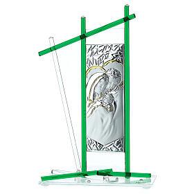 Ikona święta Rodzina szkło Murano zielone 24x15 cm s1