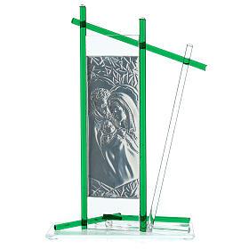 Ikona święta Rodzina szkło Murano zielone 24x15 cm s3