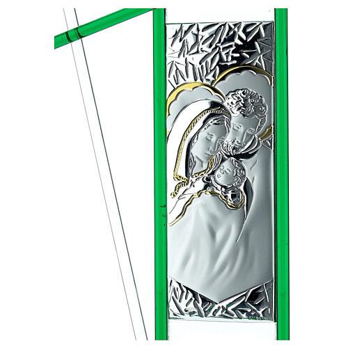 Ikona święta Rodzina szkło Murano zielone 24x15 cm 2