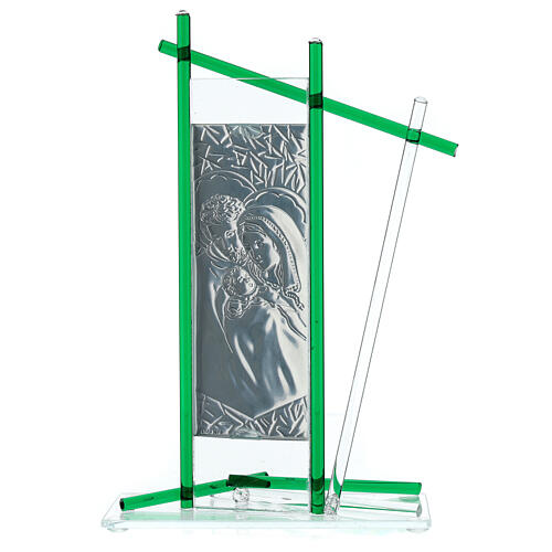 Icon Holy Family silver and Murano Glass, Green 24x15cm 3