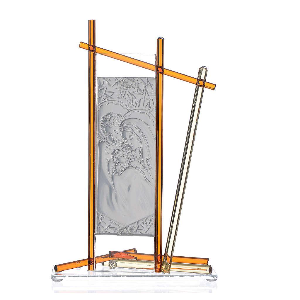 Icona Sacra Famiglia vetro Murano Ambra 24x15 cm 3