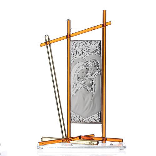 Icona Sacra Famiglia vetro Murano Ambra 24x15 cm 1