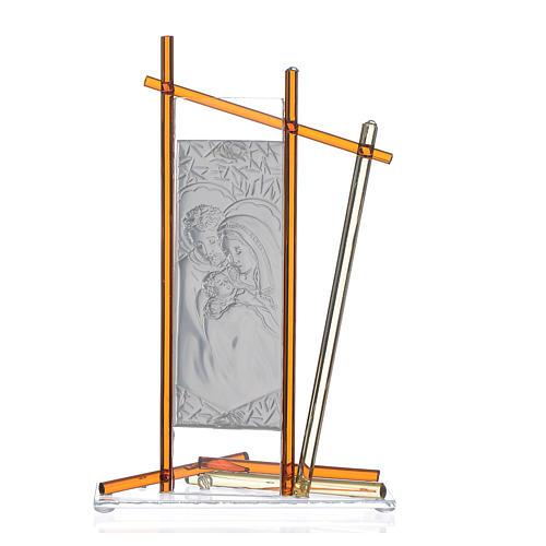 Icona Sacra Famiglia vetro Murano Ambra 24x15 cm 2