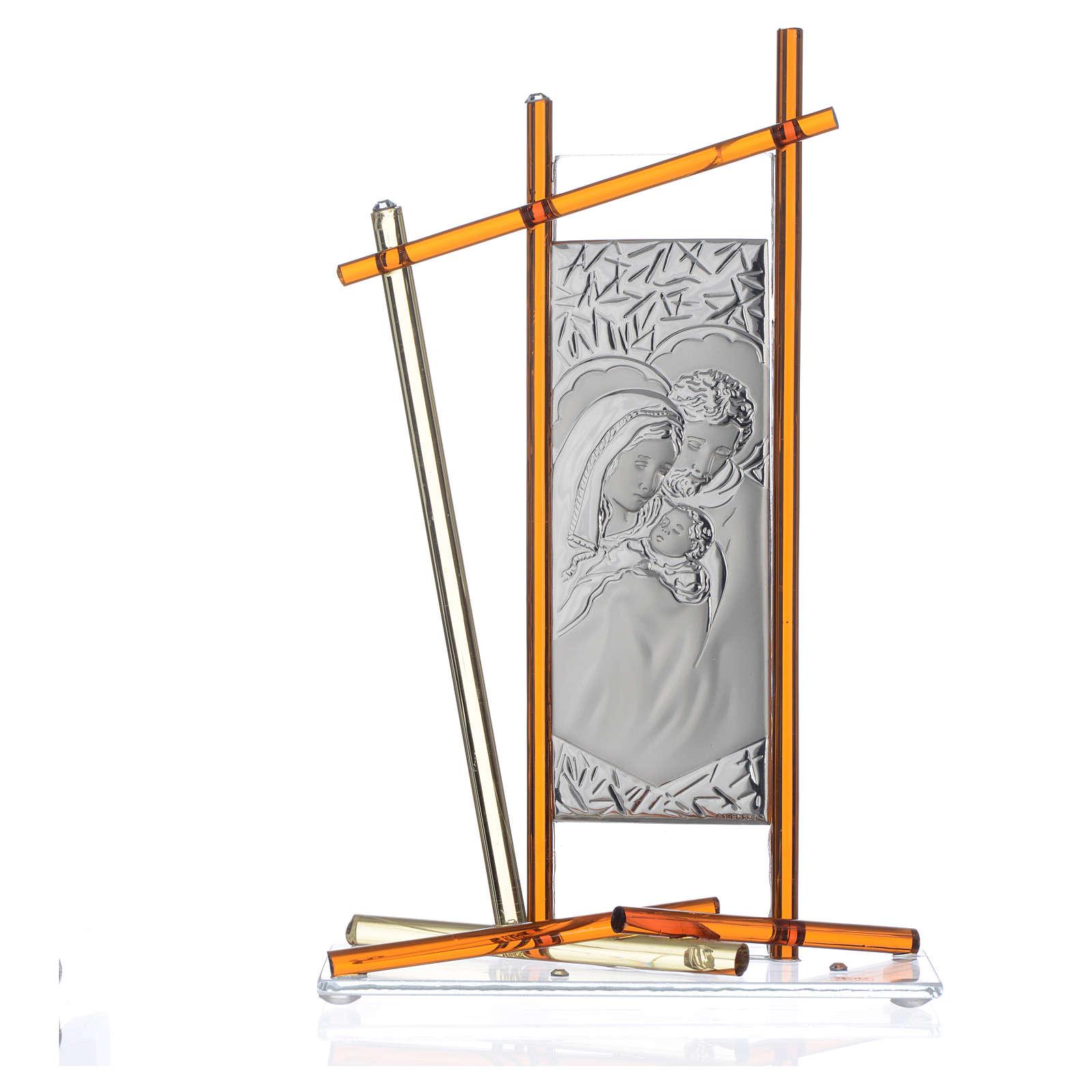 Ícone Sagrada Família vidro Murano âmbar 24x15 cm 3