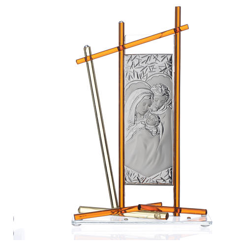 Icon Holy Family silver and Murano Glass, Amber 24x15cm 3