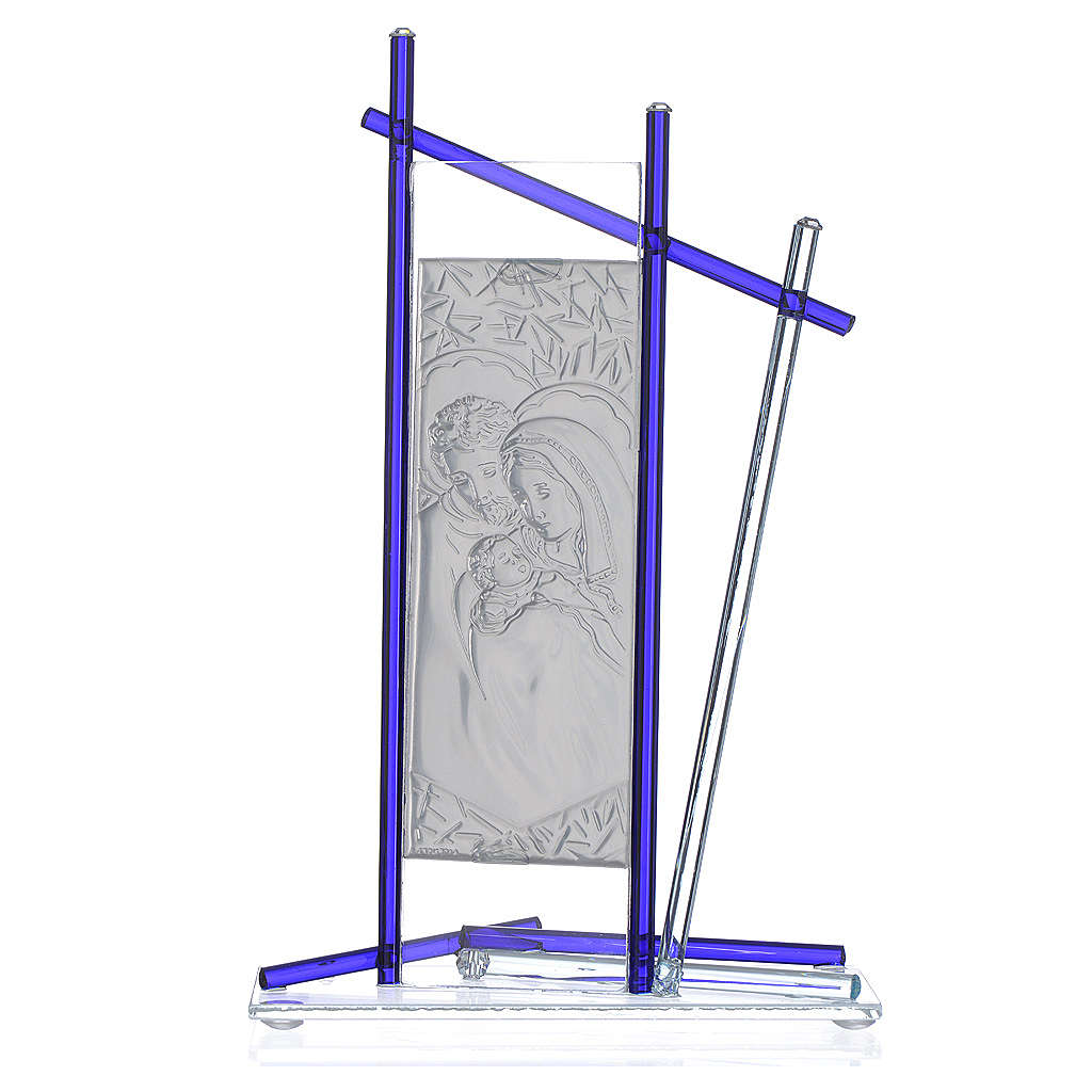 Icon Holy Family silver and Murano Glass, Blue 24x15cm 3
