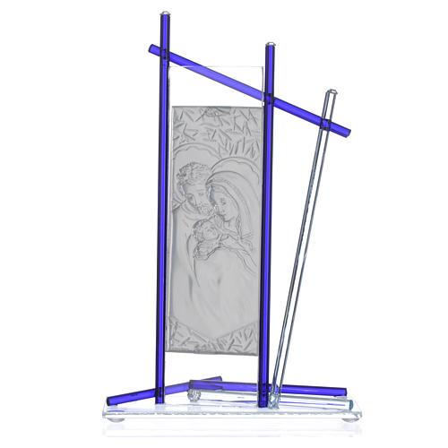 Icono Sagrada Familia Vidrio Murano Azul 24x15 cm 4