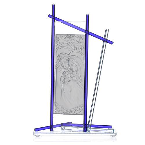 Icono Sagrada Familia Vidrio Murano Azul 24x15 cm 2
