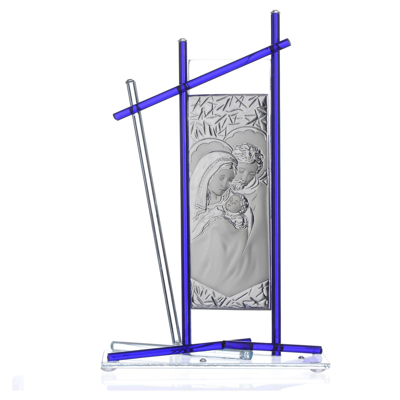 Icône Sainte Famille verre Murano bleu 24x15 cm 3
