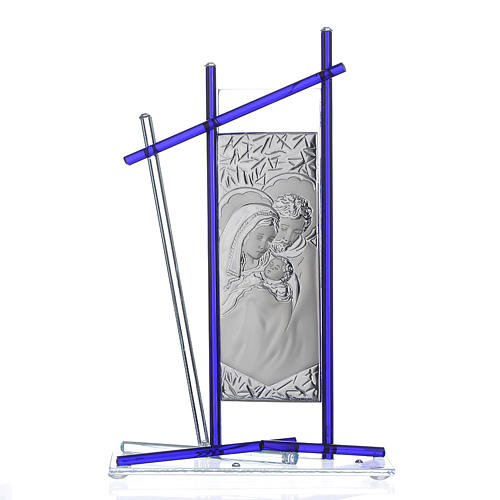 Icône Sainte Famille verre Murano bleu 24x15 cm 1