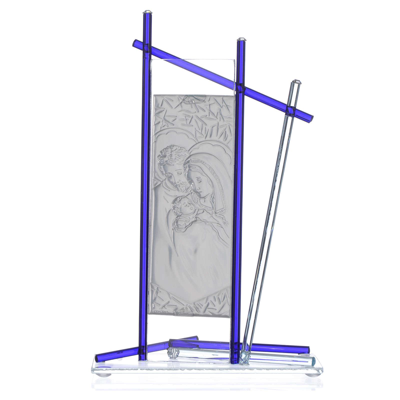 Icona Sacra Famiglia vetro Murano Blu 24x15 cm 3