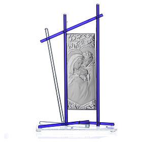 Icona Sacra Famiglia vetro Murano Blu 24x15 cm s3