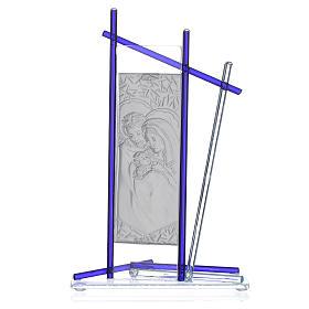 Icona Sacra Famiglia vetro Murano Blu 24x15 cm s2