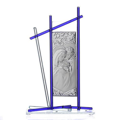 Icona Sacra Famiglia vetro Murano Blu 24x15 cm 1