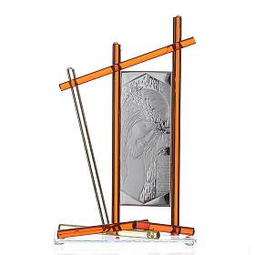 Icône Christ avec verre Murano Ambre 24x15 cm s1