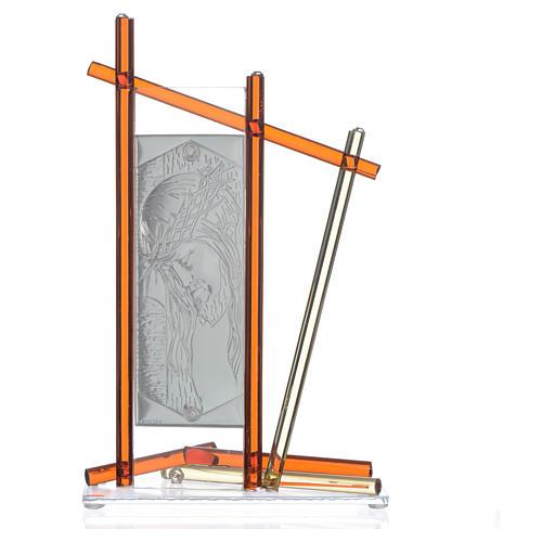 Icône Christ avec verre Murano Ambre 24x15 cm 4