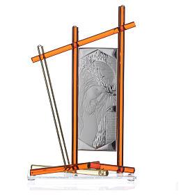 Icona Cristo con vetro Murano Ambra 24x15 cm s3