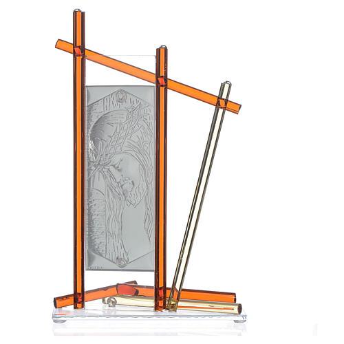 Icona Cristo con vetro Murano Ambra 24x15 cm 2