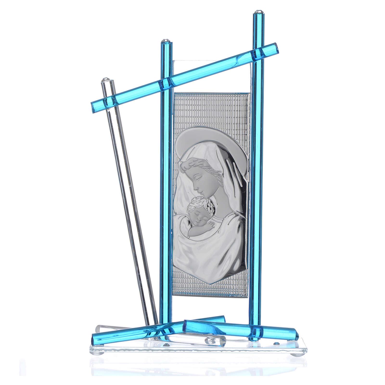 Icona Nascita vetro Murano Celeste 24x15 cm 3
