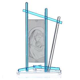 Icona Nascita vetro Murano Celeste 24x15 cm s4