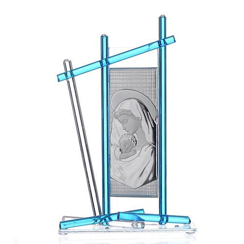 Icona Nascita vetro Murano Celeste 24x15 cm 1