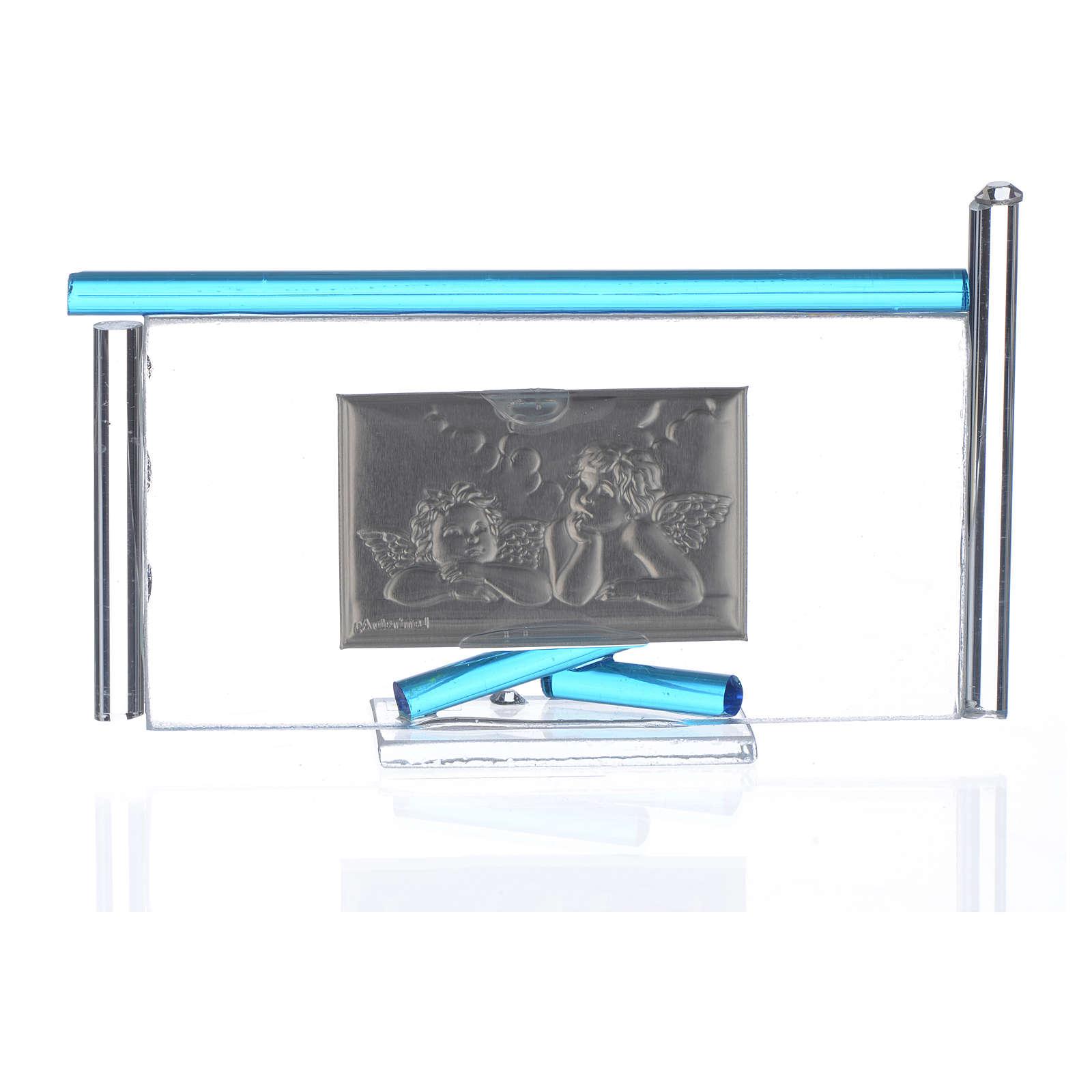 Icône Anges argent et verre Murano aigue-marine 13x8 cm 3