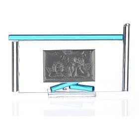 Icône Anges argent et verre Murano aigue-marine 13x8 cm s4