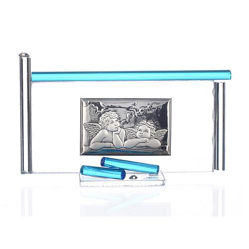 Icône Anges argent et verre Murano aigue-marine 13x8 cm 1